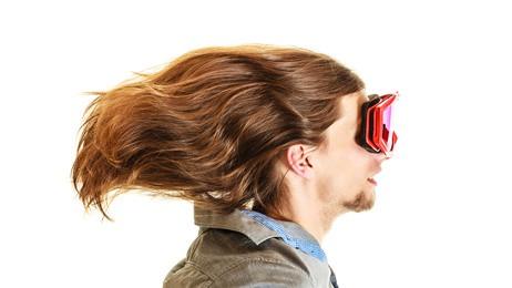 hair flowing back